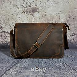 Le'aokuu Men Crazy Horse Leather Laptop HandBag Vintage Messenger 14 Laptop Bag