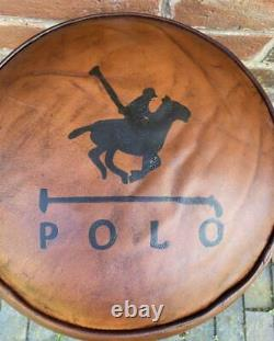 Leather & Canvas Stool Polo Horse 42cm High x 36cm Wide Vintage Style