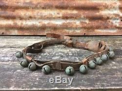 Leather Strap 21 Antique Sleigh Bells Small Zero #0 Vintage Horse Jingle Bell