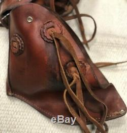 Leather Vintage Stirrup Tapaderos withHorse Head Tooling Pre-Owned Good Condtn