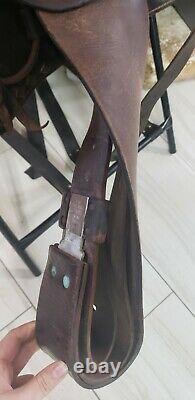 Leather Western Rope Saddle Show Parade Vintage 15 Diamond Tooled Horse Tack