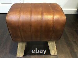 Light Brown Vintage Style'Pommel Horse' Leather Foot Stool 47cm High