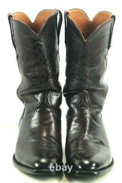 Lucchese Classics Black Cherry Cowboy Boots French Toe New Lucchese Soles 12 D