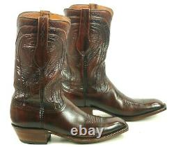 Lucchese San Antonio Cowboy Boots Vintage 80s French Toe New Lucchese Soles 9 D