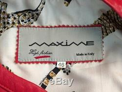 MAXIME Vintage Red Leather Gold Horse Bit Buckle Jacket 46 US 12