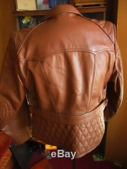 MEDIUM 40 True Vtg HORSE HIDE LEATHER CRUISER BELTED MOTORCYCLE JACKET GERMANY