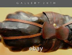 MID Century Leather Horse Sculpture! Equestrian Saddle 50s Vtg Black Stallion