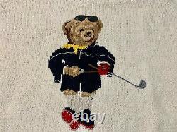 MINT Vintage Ralph Lauren Polo Sport V-Neck White Golf Bear Hand Knit Sweater