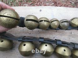 Magnificent Antique 89 29 Bell Amish Sleigh Bell Leather Harness Horse Strap