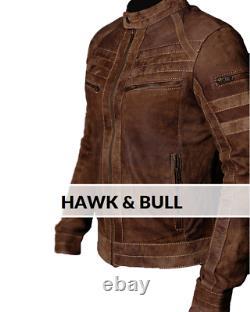 Men Biker Brown Distressed Vintage Motorcycle Real Leather Jacket Caf Racer