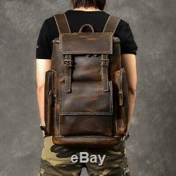 Men Brown Travel Backpack Retro Crazy Horse Leather British Large Capacity Bags