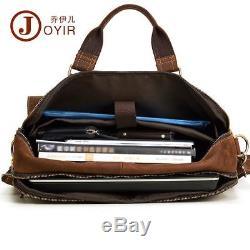 Men Crazy Horse Leather Vintage Briefcase 16411 Laptop Work Tote Shoulder Bag