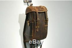 Men Leather Backpack Retro Handmade Travel Crazy Horse Leather 14 Laptop Bags