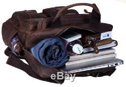Men Vintage Crazy Horse Genuine Leather Laptop Backpack Multi Pockets