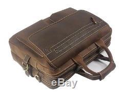 Men Vintage Crazy Horse Leather Briefcase 15Laptop Bag Shoulder Bag Messenger