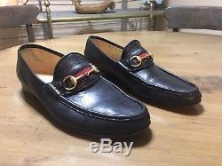 (Men's 12 D) CLASSIC Vintage GUCCI Horse Bit LOAFERS Black Leather / Gold Tone