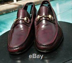 Men's GUCCI Mahogany Leather Horse-bit Loafers shoe Gucci Sz 42.5 D