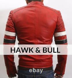 Men's Red Distressed Real Leather Jacket Biker Vintage Motorcycle Café Racer