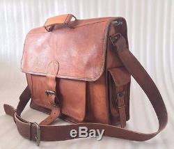 Men's Vintage Genuine Scrub Crazy Horse Cow Leather Messenger Bags Shoulder Bag
