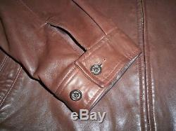 Men's Vintage POLO RALPH LAUREN Zip Leather Jacket XL BROWN withBrown Horse