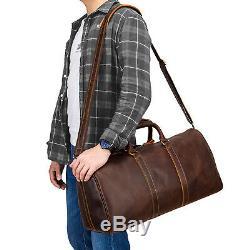 Men's Vintage crazy horse genuine leather travel bag duffel luggage weekend bag