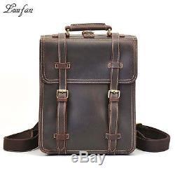 Men's vintage crazy horse leather rucksack 3 interlayer 14 Laptop Brown genuine