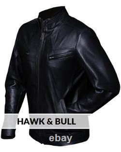 Mens Solid Black Biker Real Leather Jacket Motorcycle Bomber Cafe Racer vintage