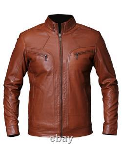 Mens Vintage Biker Motorcycle Tan Brown Cafe Racer Real Leather Jacket