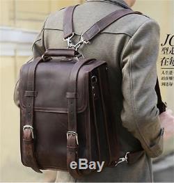 Mens Vintage Crazy Horse Genuine Leather Backpack Large Laptop Travel School