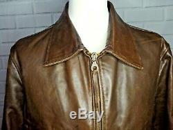 Mens Vintage MALBORO CLASSICS 100% Horse Skin Leather Zip Jacket XXL 2XL Brown