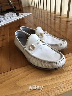 Mens white Gucci horse-bit loafer. New condition, size 8.5. Unique vintage style