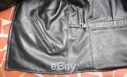 Monarch War Model Size 44 Half Belt Italian Leather Horse Hide Jacket