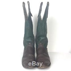 OLATHE Vtg Tall Top Green Brown Black Leather Cowboy Horse SASS Boots Men's 10.5