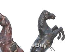 Old Vintage Leather Covered Horse Figure Pair Decorative Collectible