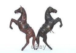 Old Vintage Leather Covered Horse Figure Pair Decorative Collectible F-37