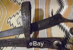 Old Vintage Leather Horse Bridle & Old Fancy Silver Bit no Spurs
