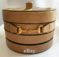 Orig. GUCCI Pipe Holder Pfeifenhalter Leather Brass Horsebit Vintage Deko Tabak