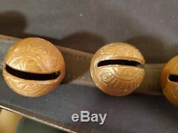 Original Leather Strap Of 17 Antique Sleigh Bells Vintage Horse Jingle Bells Old