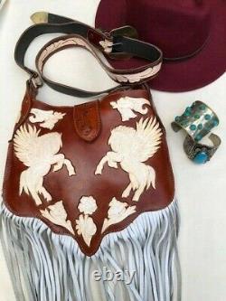 PEGASUS LEATHER BAG Horse Wings Western Floral White Tan Tooled Cowboy Vintage