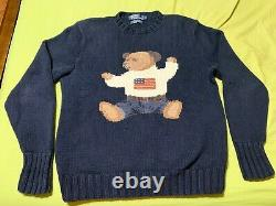 PRISTINELIMITED POLO Ralph Lauren Sit Down Bear Hand Knit Sweater Vintage