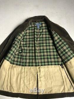 Polo Ralph Lauren Brown Corduroy Shooting Hunting Jacket Rugged RRL VTG Leather