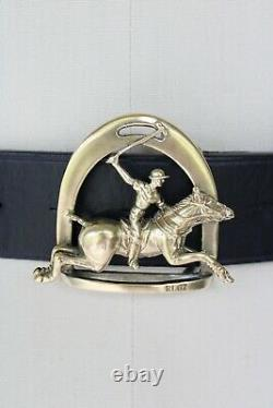 Polo player Ralph Lauren Collection vintage brass equestrian horse belt leather