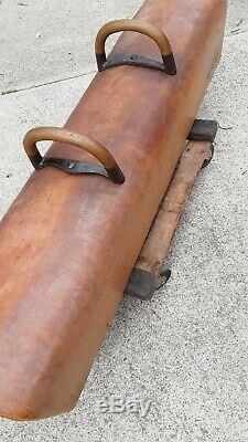 Pommel Horse Gymnastic Leather Bench Seat Desk Stool Handle Decor Sport Vintage