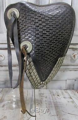 Pr Vintage Wild West Silver Stud Leather Tapaderos Hooded Horse Riding Stirrups