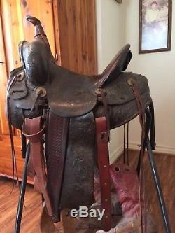 R. T. Frazier Maker Vintage Antique Leather Horse Western Saddle Pueblo Colorado