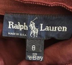 RALPH LAUREN Equestrian Horse Bit Stirrup Leather Straps Wrap Skirt Vtg USA Sz 8