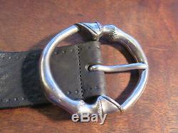 RARE HTF Vintage Gucci Black Leather Belt HORSE HOOF Silver Buckle