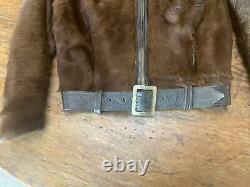 RARE True VTG 1940s Grizzly Leather Jacket REAL Horse/CALF/Bear Fur Cafe Racer