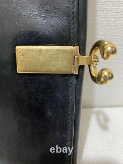 RARE VINTAGE GUCCI Bifold Wallet Black Leather wGold Horseshoe Lever Closure