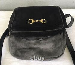 RARE Vintage 90s GUCCI 1955 Horsebit Equestrian Black Suede Camera Crossbody Bag